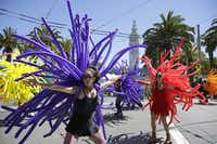Marchers with Balloon Magic take part in the 44th annual San Francisco Gay Pride parade Sunday, June 29, 2014, in San Francisco. The lesbian, gay, bisexual, and transgender celebration and parade is one of the largest LGBT gatherings in the nation. (AP Photo/Eric Risberg)Eric Risberg - AP