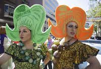 LeMay, left, dressed as Lime A Rita and Darcy Drollinger, right, dressed as Mang O Rita, wait by their float for the start of the 44th annual San Francisco Gay Pride parade Sunday, June 29, 2014, in San Francisco. The lesbian, gay, bisexual, and transgender celebration and parade is one of the largest LGBT gatherings in the nation. (AP Photo/Eric Risberg)Eric Risberg - AP