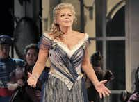 """This June 2013 photo provided by the The Santa Fe Opera shows Susan Graham during a rehearsal of an Offenbach comedy, """"The Grand Duchess of Gerolstein,"""" at the Santa Fe Opera in Santa Fe, N.M."""