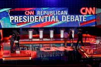 The hall is set before a Republican presidential primary debate tonight in Houston. (AP Photo/Pat Sullivan)