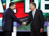 Republican presidential candidate Ted Cruz (left) greeted Ohio Gov. John Kasich at the start of a debate earlier this month at the University of Miami. (Wilfredo Lee/The Associated Press)