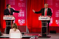 Ted Cruz, sparring with Donald Trump at a debate in South Carolina earlier this month, won the Iowa caucuses but hasn't been able to best the billionaire businessman in subsequent states. (Daniel Acker/Bloomberg News)