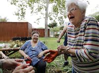 Ruth Mason (right) donned gardening gloves last week to help Susan Tullos separate and trim back irises at the Juliette Fowler Homes.