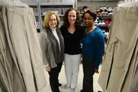 Garland ISD's (from left) Shelly Hopkins, assistant director of student services; Emily Jandrucko, case manager; and Babetta Hemphill, executive director of student services; pose for a photo at the GRS Giving Place on March 7, 2014 in Garland. The GRS Giving Place provides uniforms, basic hygiene supplies, shoes and coats to the district's homeless student population.ROSE BACA  - neighborsgo staff photographer