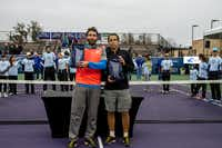 Santiago Gonzalez of Mexico (left) and Scott Lipsky of the United States won the 2014 Doubles Championship recently at the Irving Tennis Classic at the Four Seasons.(Photo submitted by TESSA KOLODNY)
