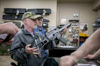 C.J. Grisham, president of Open Carry Texas, goes shooting at a gun range in Temple, Texas in February. (Ilana Panich-Linsman for the Washington Post)