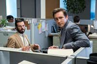 Scoot McNairy (left, with Lee Pace), portrays Gordon Clark, a Dallas software engineer who dreams of bigger things in Halt and Catch Fire. Pace plays IBM defector Joe MacMillan.Tina Rowden/AMC - AMC