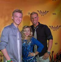 Kenton Duty (left) and Harper Gruzins when she received a scholarship from Dallas talent agent Jonathan George (right) through an audition at Hollywood Launch Academy.