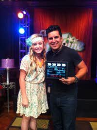 Harper Gruzins (left) on the set of iShine, a Christian Television Network series in Nashville, Tenn.