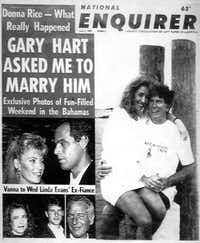 Gary Hart's scandal with Donna Rice ended his Democratic presidential run in 1988.