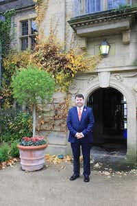Calum C. Milne, great-grandson of Winnie-the-Pooh creator, author A.A. Milne, has welcomed grand Hay Festival guests such as Prince Charles of England and President Bill Clinton to Llangoed Hall, an elegant Edwardian country manor luxury hotel near Hay-on-Wye.(Janis Turk - Photo Copyright 2015 Janis Turk)