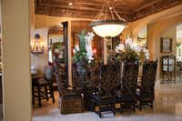 """A dining room featured on """"Donna Decorates Dallas"""" shows her floor-to-ceiling attention to detail."""
