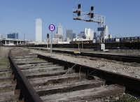 An area near a possible location where a high-speed rail company wants to put a downtown Dallas station. The high speed rail line is proposed between Dallas and Houston. (Michael Ainsworth/The Dallas Morning News)