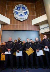 Police Chief David Brown said one of the ways he plans to improve morale is to recognize officers for their work more. In this photo, Dallas Police officers receive commendation awards on Thursday, July 2, 2015 at Dallas Police headquarters in Dallas for their actions when a gunman attacked headquarters in June. (Ashley Landis/The Dallas Morning News)