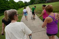 The Flower Mound Walking Women group walk the trails in Glenwick Park in Flower Mound. The surrounding area was rated the the healthiest neighborhood in the Flower Mound and Lewisville area.