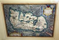 Hand-colored and framed antique maps by Abraham Ortelius and J. Jansson.
