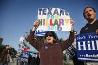 Hillary Clinton supporters such as Nancy Baker Bryant, shown cheering Clinton when she visited Irving in 2013, eagerly anticipated her 2016 campaign.( File Photo  -  Staff  )