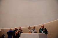 Members of The Gathering (from left) Karen Wilkes, Steve Wilkes, Tom Hauser, the Rev. Jim Webb and the Rev. Charlie Keen lead the church service.ROSE BACA