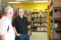 George Cornelius advises a customer on winemaking at The Wine Maker's Toy Store and Dallas Home Brew.