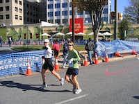 Carla Hoffman (left) runs the East Coast Marathon.Photo submitted by CARLA HOFFMAN
