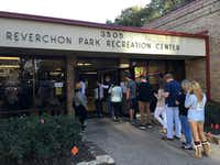 The line of voters Tuesday afternoon stretched outside the door at Reverchon Park Recreation Center, where Republicans were scrambling for ballots after running short. (Jae S. Lee/The Dallas Morning News)