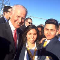 Vice President Joe Biden with Cristo Rey freshmen America Rodriguez and Ryan Torres.