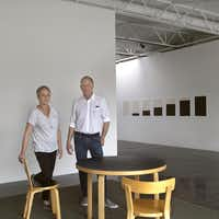 Artist Linea Glatt and gallerist Barry Whistler at the installation of the exhibition titled Linnea Glatt / Continuum, May 14 - June 25, 2016 at the new Barry Whistler Gallery on Cole Street in Dallas.( Nan Coulter )