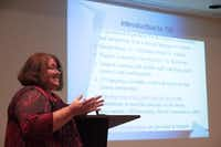 Nancy Shaw explains the requirements of joining Garland ISD's Translation & Interpretation Volunteer Community Outreach at an interest meeting. Maria Floyd, facilitator for GISD's Translation & Interpretation Services, created the Translation & Interpretation Volunteer Community Outreach to help parents in the district overcome language barriers in the interest of their childrens' education.Staff photo by CHRIS DERRETT/neighborsgo