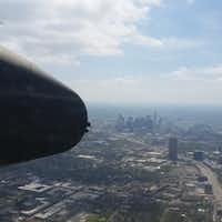 Downtown Dallas, from the fuselage of a vintage B-25 aircraft. (Marc Ramirez/Staff)
