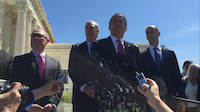 Texas Attorney General Ken Paxton and Solicitor General Scott Keller address reporters after oral arguments in the U.S. vs. Texas Supreme Court case. Texas is leading the case against the immigration actions and is backed by 26 other states, challenging a 2014 policy put on hold by lower courts, known as Deferred Action for Parents of Americans. It furthered a 2012 policy known as Deferred Action for Childhood Arrivals. (Katie Leslie / Dallas Morning News)