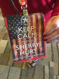 """Sherry Hurt, of Ector County, printed 700 glossy """"punch cards"""" in her bid to become a delegate to the national convention. (Katie Leslie / The Dallas Morning News)"""