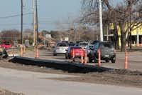 Fresh concrete has dried at the intersection of Spring Creek Parkway and Custer Road. Officials say the projects have been largely on time, and more projects are expected in Plano once the current work is finished.(Staff photo by CHRIS DERRETT)