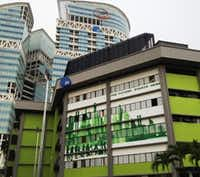 The green building is one of three that make up the JTC LaunchPad in Singapore. (Sheryl Jean/The Dallas Morning News)