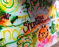Graffiti is not allowed in Singapore, but there's a sanctioned wall of graffiti at JTC LaunchPad. (Sheryl Jean/The Dallas Morning News)