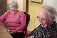 Jim and Adele Taylor laugh as they share memories while spending an afternoon with Dallas Baptist University freshmen Collin Gresso and Scott Harrison.Chris Derrett - neighborsgo staff