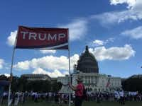 Jim McDonald, right, holds a pro-Donald Trump sign at an anti-Iran deal rally featuring the 2016 presidential candidate on Sept. 9, 2015 at the U.S. Captiol (Sylvan Lane/Dallas Morning News).
