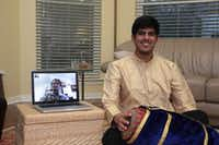 Plano Senior High School junior Jay Appaji works with his instructor, percussionist Rohan Krishnamurthy, by webcam. Appaji grew up singing South Indian music and transitioned to the mridangam at age 12.Staff photo by CHRIS DERRETT - neighborsgo