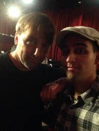 Tyler (right) of Richardson posed for a selfie with Boyhood director Richard Linklater at a screening in Austin on July 13.( Photo submitted by TYLER STROTHER  )