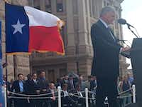 Franklin Graham spoke to a crowd of thousands Tuesday at the Texas Capitol. Gov. Greg Abbott and Lt. Gov. Dan Patrick were in attendance. (Brittney Martin/Staff)