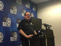 Assistant Chief Randall Blankenbaker addresses the media on Dec. 22, 2015, about the second bias crime police are investigating in the Oak Lawn area since September.