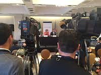 Fort Worth Mayor Betsy Price, with Dallas Mayor Mike Rawlings, answered questions from Mexican TV stations this week at the Grand Hyatt in Mexico City. (Tristan Hallman/Staff)