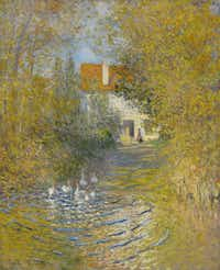 """The Age of Impressionism: Great French Paintings From the Clark"" drew admiring crowds to the Kimbell Art Museum with more than 70 paintings by Monet, Pissarro, Renoir and others. This is Claude Monet's ""Geese in the Brook"", 1874, oil on canvas.Sterling and Francine Clark Art Institute"