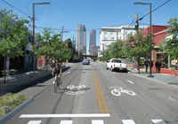 A computer-altered rendering shows Elm Street in Deep Ellum after the bike plan, which the City Council approved last summer, is implemented.