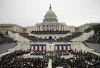As President Barack Obama spoke at his inauguration ceremony at the U.S. Capitol on Monday, a crowd estimated to be in the hundreds of thousands packed the National Mall for the event.