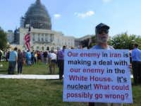 Jim Erwin of Galion, Ohio, was among the thousands on hand at a rally against the Iran nuclear deal featuring Sen. Ted Cruz and Donald Trump on Sept. 9, 2015. (staff/Todd J. Gillman)