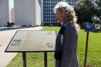 Cynthia Herschkowitsch walks near President John F. Kennedy Memorial Plaza, close to the spot in downtown Dallas where she stood 50 years ago and watched the president's motorcade pass.Photo ROSE BACA