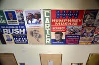 Presidential campaign posters line a hallway in the W.R. Poage Legislative Library at Baylor University.