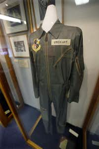 In this photo made on Friday, Dec. 20, 2013, a flight suit that Hollywood legend Jimmy Stewart wore as a member of the Air Force Reserve is on display at the Jimmy Stewart Museum in indiana, Pa.