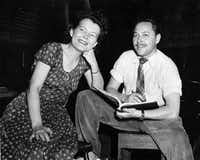 """Playwright Tennessee Williams described """"happy times"""" he spent with Dallas theater legend Margo Jones, here seen at a 1948 rehearsal of """"Summer and Smoke"""" in New York. She helped launch his career with stagings of his plays in Dallas and Austin; """"The Glass Menagerie"""" premiered at her Fair Park theater."""
