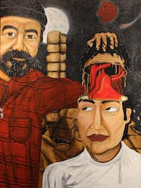 "A portrait of curator Jose Vargas and artist Samuel Torres, done by Torres as a tribute to Vargas. The painting is part of the ""El Corazon"" (accent on the second o) exhibit at the Bath House Cultural Center, Feb. 1-March 1, 2014."